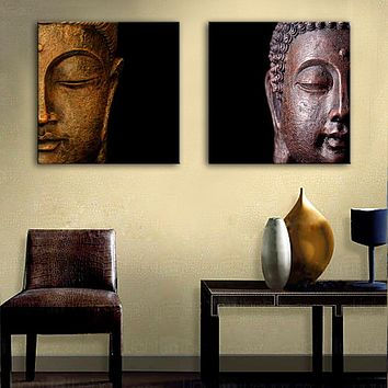 Free Shipping Oil Painting Buddha Head Decoration Painting Home Decor Canvas Print Poster Canvas Painting Wall art