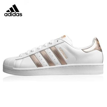 Adidas Superstar  Women's Walking Shoes, Gold & White, Breathable  Wear-resistant Lightweight  Non-Slip  BB1428