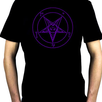 Purple Pentagram Sabbatic Baphomet Men's T-Shirt Occult Clothing