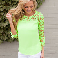 Graced with Lace Neon Green Top