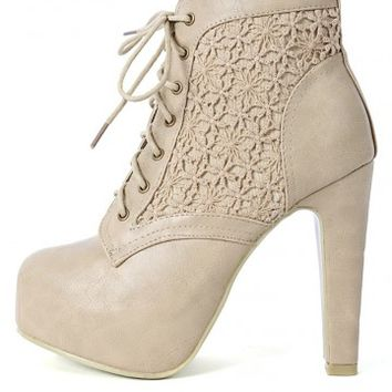 Wild Diva Oliana-17 Lace Ankle Booties | MakeMeChic.com