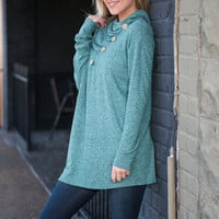Button Top Of The World Top, Light Teal