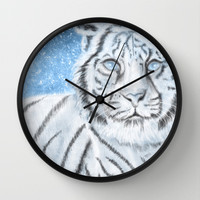 Ethereal White Tiger Wall Clock by Susaleena