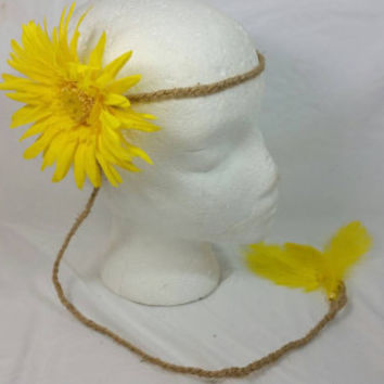 Hippie Yellow Daisy Braided Twine Headband/Groovy Headband/Braided Jute Headband/Feather Coachella/Music Festival/Yellow Feather Headband