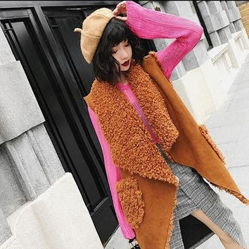 Stylish Double-faced Irregular Hem Curly Hairy Shaggy Faux Fur Vest 2017 Winter Women Lapel Sleeveless Coat