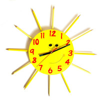 Cute yellow sun pencil wall clock for kids children clock