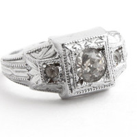 Antique Art Deco Rhinestone Ring -  Vintage Silver Tone Pot Metal 1930s Size 5 Costume Jewelry / Tri Faux Diamond
