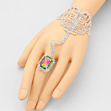 """ Seductive ""  Emerald Cut Swirl Rhinestone Bracelet & Greens & Pinks Watermelon  Crystal Ring Combo On Silver Tone"