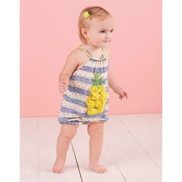 Mud Pie STRIPED RUFFLE PINEAPPLE BUBBLE ROMPER