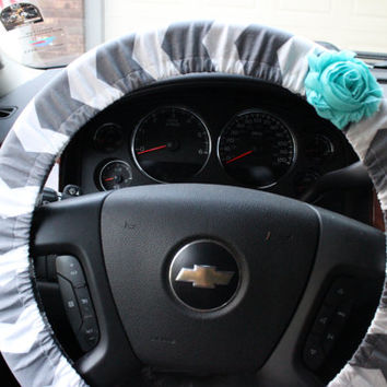 Gray and White Chevron Steering Wheel Cover with Shabby Chic Flower Gifts For Her