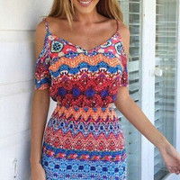Tribal Print Cut-Out Mini Dress