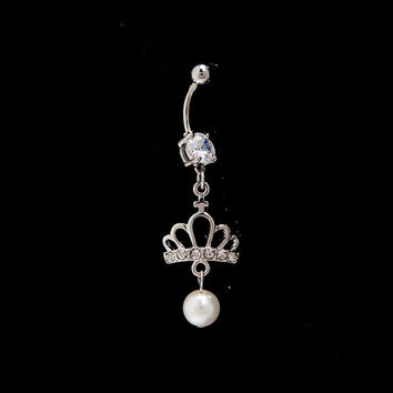 Crown and Pearl and rhinestone dangling belly button ring