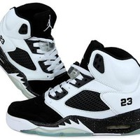 Cheap Air Jordan 5 Oreo Men Shoes White Black