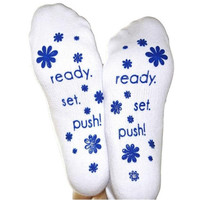 Ready. Set. Push! Labor Socks {Blue}