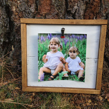 Joyful Island Creations Clip Frame, Gift under 20, Reclaimed wood frame, wood picture frame, christmas gift under 20