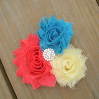 FREE SHIPPING, Trio Flower Headband, Coral, Lite Yellow, River Blue, chiffon shabby Flower clip, Rhinestone Center, baby hair photo prop