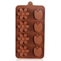 Silicone Flower Shaped Cake Mold & Ice Tray (Brown)