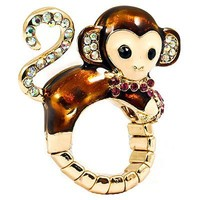 Cute Monkey Crystal Enamel Stretch Adjustable Fashion Cocktail Ring Gold Brown