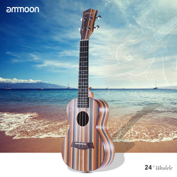 "Ammoon 24"" Striped Design Acoustic Wooden Soprano 18 Frets Ukulele"