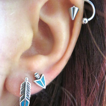 Tiny Turquoise Inlay Feather Studs Sterling Silver 925 Vintage Earrings 14x4mm