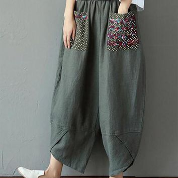 Cute Stuff Loose Retro Linen Harem Pants