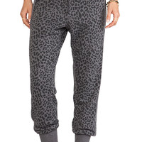 Chaser Reverse Animal Print Slouchy Pant in Charcoal