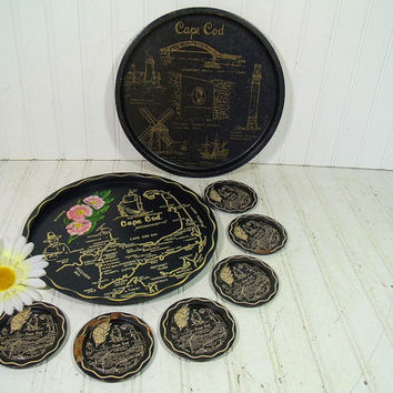 Vintage Cape Cod Souvenir Hostess Tray 8 Pieces Set - Retro Massachusetts Travel Tourism Iconic Summer Vacation Land Marks - Shabby Chic Tin