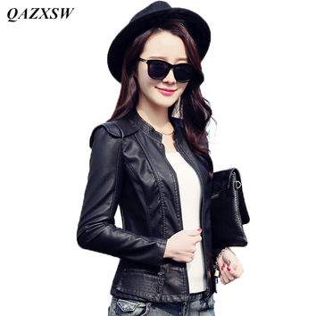 QAZXSW 2017 New Fashion Women Motorcycle Leather Jacket Coat Stand Collar Women Water Wash PU Slim Outerwear Coats YX8842