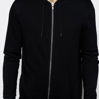 ASOS Longline Zip Up Hoodie In Black at asos.com