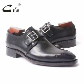 cie Free Shipping Genuine Leather size 6-14 Handmade men's Square Toe Single Monk Straps Leather Goodyear Shoe Black No.MS47