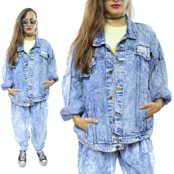 Vintage 80s Mizz Lizz Acid Wash Denim Jean Jacket