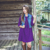 Abstract Shift Dress in Purple