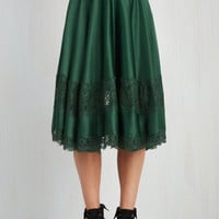 Vintage Inspired, French Long Full My Kind of Twirl Skirt in Emerald