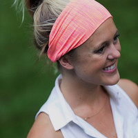 Handmade Stretch Performance Knit Headband. Pink and Orange