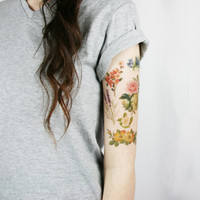 vintage wildflowers pack - 6 floral temporary tattoos - lavender, calendula, cherry blossom, camellia
