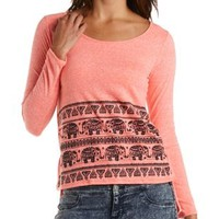 Elephant Print High-Low Top by Charlotte Russe - Neon Coral