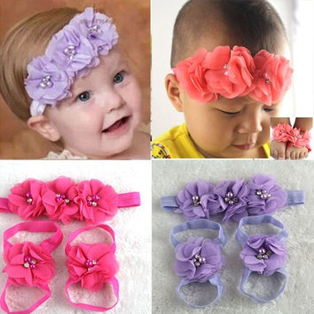 New Cute Chic Foot Flower Barefoot Sandals + Headband Set for Baby Infants Girls = 1706378884