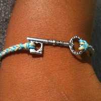 Khaki and Turquoise Braided Key Charm Adjustable Bracelet