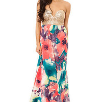 The Reverse Dress Sequined Bustier Floral Maxi in Multi