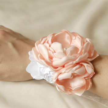Flower wrist corsage, bridal wrist corsage, flower cuff bracelet, wedding fabric corsage, Bridesmaid cuff bracelet