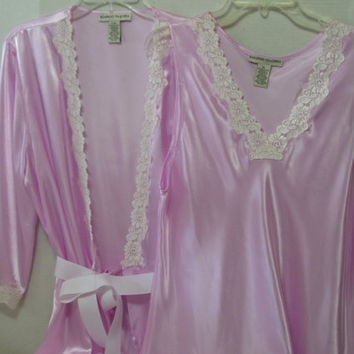 SALE + Free US Ship Sassy and Sexy Peignoir Set Pink Satin Chantilly Lace Short Robe Negligee Nightgown Wedding Honeymoon Resort Cruise Wear