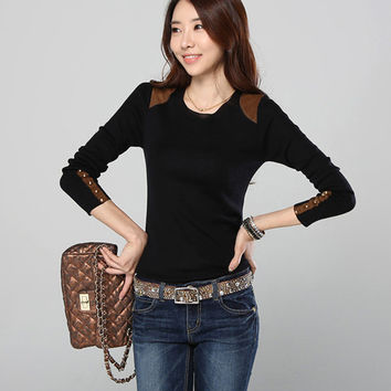 Black Long Sleeve Blouse with Button Design