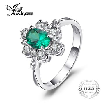 JewelryPalace Elegant 0.7ct Oval Created Emerald Solitaire Anniversary Promise Ring Solid 925 Sterling Silver