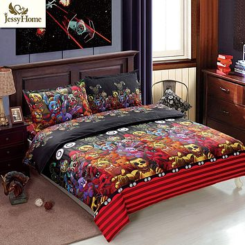 Christmas Gift 3D Halloween Bedding Set Skull Bedding Set Christmas Bedding 4Pcs Coverlet Twin Queen King Size