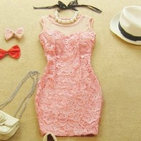 TEMPERAMENT SEXY LACE PACKAGE HIP DRESS