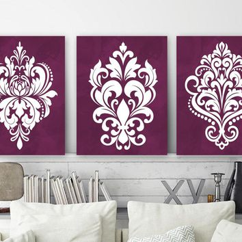 DAMASK Wall Art, Maroon Bedroom Wall Decor, Damask Canvas or Prints, Maroon Bathroom Decor, Maroon Wall Art, Set of 3 Home Decor Pictures