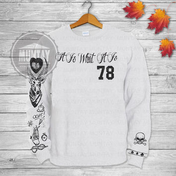 Louis Tomlinson Tattoos One DIRECTION 1D Crewneck  Sweatshirt  Sweater and Hoodie Jumper in Grey White