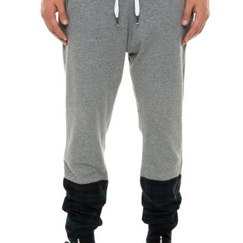 The Flannel Cut Block Terry Pants in Grey and Black Watch