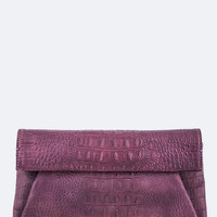 Purple Croc Embossed Leather Clutch