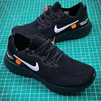 Off white x Nike Epic React Flyknit AQ0070-010 Sport Running Shoes - Best Online Sale